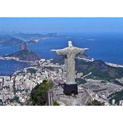 CHRIST ON CORCOVADO Birthday Cake 3D Greeting Card (7x5)