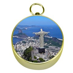 Christ On Corcovado Gold Compasses