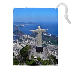 CHRIST ON CORCOVADO Drawstring Pouches (XXL)