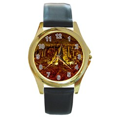 VOLCANO CAVE Round Gold Metal Watches