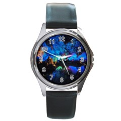 REED FLUTE CAVES 2 Round Metal Watches