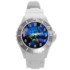 REED FLUTE CAVES 2 Round Plastic Sport Watch (L)