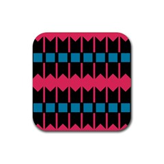 Rhombus And Stripes Pattern			rubber Square Coaster (4 Pack