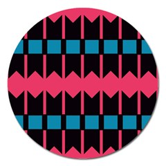 Rhombus And Stripes Patternmagnet 5  (round)