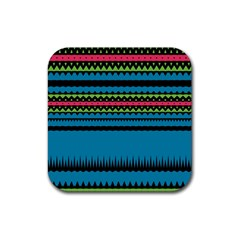 Chevrons And Trianglesrubber Square Coaster (4 Pack