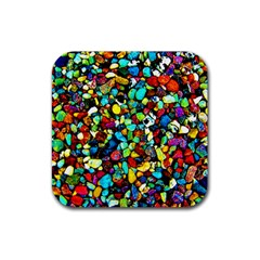 Colorful Stones, Nature Rubber Square Coaster (4 Pack)