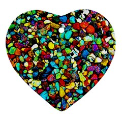 Colorful Stones, Nature Heart Ornament (2 Sides)