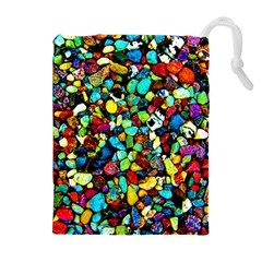 Colorful Stones, Nature Drawstring Pouches (extra Large)