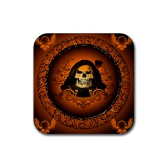 Awsome Skull With Roses And Floral Elements Rubber Square Coaster (4 Pack)