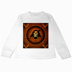 Awsome Skull With Roses And Floral Elements Kids Long Sleeve T-Shirts