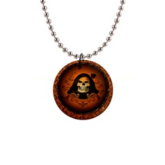Awsome Skull With Roses And Floral Elements Button Necklaces