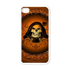 Awsome Skull With Roses And Floral Elements Apple iPhone 4 Case (White)