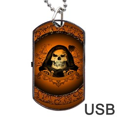 Awsome Skull With Roses And Floral Elements Dog Tag USB Flash (Two Sides)