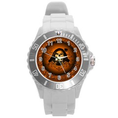 Awsome Skull With Roses And Floral Elements Round Plastic Sport Watch (L)