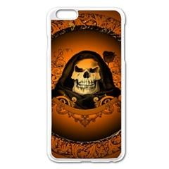 Awsome Skull With Roses And Floral Elements Apple Iphone 6 Plus/6s Plus Enamel White Case