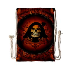 Awsome Skull With Roses And Floral Elements Drawstring Bag (small)