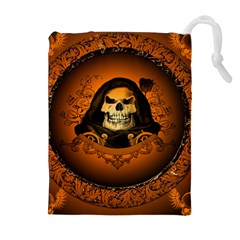 Awsome Skull With Roses And Floral Elements Drawstring Pouches (Extra Large)