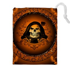 Awsome Skull With Roses And Floral Elements Drawstring Pouches (XXL)