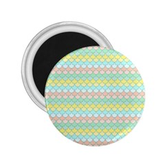 Scallop Repeat Pattern In Miami Pastel Aqua, Pink, Mint And Lemon 2 25  Magnets