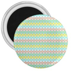 Scallop Repeat Pattern in Miami Pastel Aqua, Pink, Mint and Lemon 3  Magnets