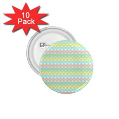 Scallop Repeat Pattern in Miami Pastel Aqua, Pink, Mint and Lemon 1.75  Buttons (10 pack)