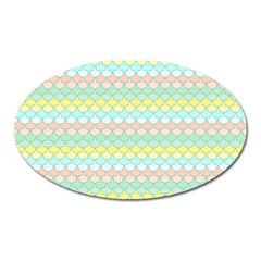 Scallop Repeat Pattern in Miami Pastel Aqua, Pink, Mint and Lemon Oval Magnet
