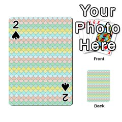 Scallop Repeat Pattern in Miami Pastel Aqua, Pink, Mint and Lemon Playing Cards 54 Designs