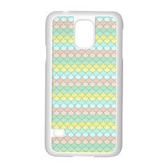 Scallop Repeat Pattern In Miami Pastel Aqua, Pink, Mint And Lemon Samsung Galaxy S5 Case (white)