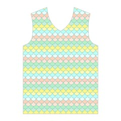 Scallop Repeat Pattern in Miami Pastel Aqua, Pink, Mint and Lemon Men s Basketball Tank Top