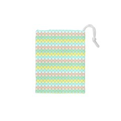 Scallop Repeat Pattern in Miami Pastel Aqua, Pink, Mint and Lemon Drawstring Pouches (XS)