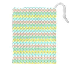 Scallop Repeat Pattern In Miami Pastel Aqua, Pink, Mint And Lemon Drawstring Pouches (xxl)