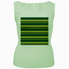Scallop Pattern Repeat in  New York  Teal, Mustard, Grey and Moss Women s Green Tank Tops