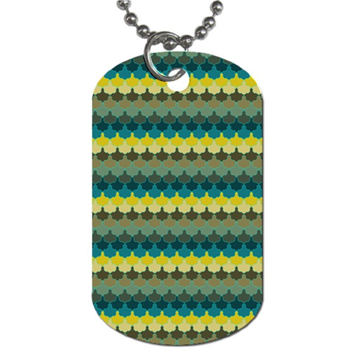 Scallop Pattern Repeat in  New York  Teal, Mustard, Grey and Moss Dog Tag (Two Sides)