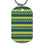 Scallop Pattern Repeat in  New York  Teal, Mustard, Grey and Moss Dog Tag (Two Sides) Back