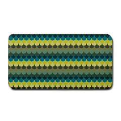 Scallop Pattern Repeat In  new York  Teal, Mustard, Grey And Moss Medium Bar Mats