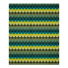 Scallop Pattern Repeat In  new York  Teal, Mustard, Grey And Moss Shower Curtain 60  X 72  (medium)