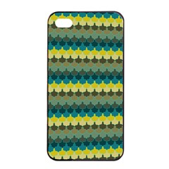 Scallop Pattern Repeat In  new York  Teal, Mustard, Grey And Moss Apple Iphone 4/4s Seamless Case (black)