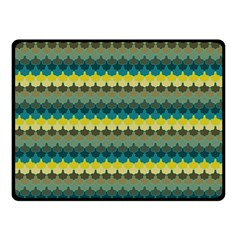 Scallop Pattern Repeat In  new York  Teal, Mustard, Grey And Moss Double Sided Fleece Blanket (small)