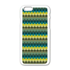 Scallop Pattern Repeat In  new York  Teal, Mustard, Grey And Moss Apple Iphone 6/6s White Enamel Case
