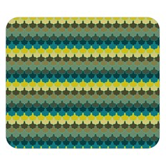 Scallop Pattern Repeat in  New York  Teal, Mustard, Grey and Moss Double Sided Flano Blanket (Small)
