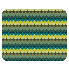 Scallop Pattern Repeat In  new York  Teal, Mustard, Grey And Moss Double Sided Flano Blanket (medium)