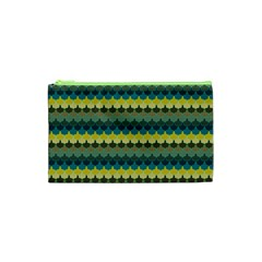 Scallop Pattern Repeat In  new York  Teal, Mustard, Grey And Moss Cosmetic Bag (xs)
