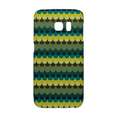 Scallop Pattern Repeat In  new York  Teal, Mustard, Grey And Moss Galaxy S6 Edge