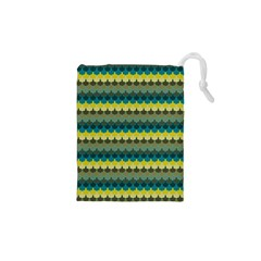 Scallop Pattern Repeat in  New York  Teal, Mustard, Grey and Moss Drawstring Pouches (XS)