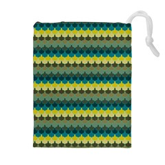Scallop Pattern Repeat in  New York  Teal, Mustard, Grey and Moss Drawstring Pouches (Extra Large)