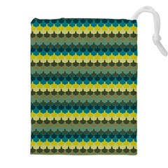 Scallop Pattern Repeat In  new York  Teal, Mustard, Grey And Moss Drawstring Pouches (xxl)