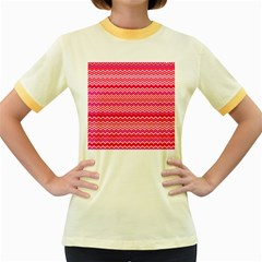 Valentine Pink And Red Wavy Chevron Zigzag Pattern Women s Fitted Ringer T Shirts