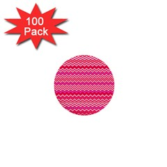 Valentine Pink and Red Wavy Chevron ZigZag Pattern 1  Mini Buttons (100 pack)