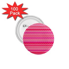Valentine Pink and Red Wavy Chevron ZigZag Pattern 1.75  Buttons (100 pack)