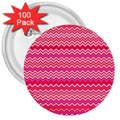 Valentine Pink And Red Wavy Chevron Zigzag Pattern 3  Buttons (100 Pack)